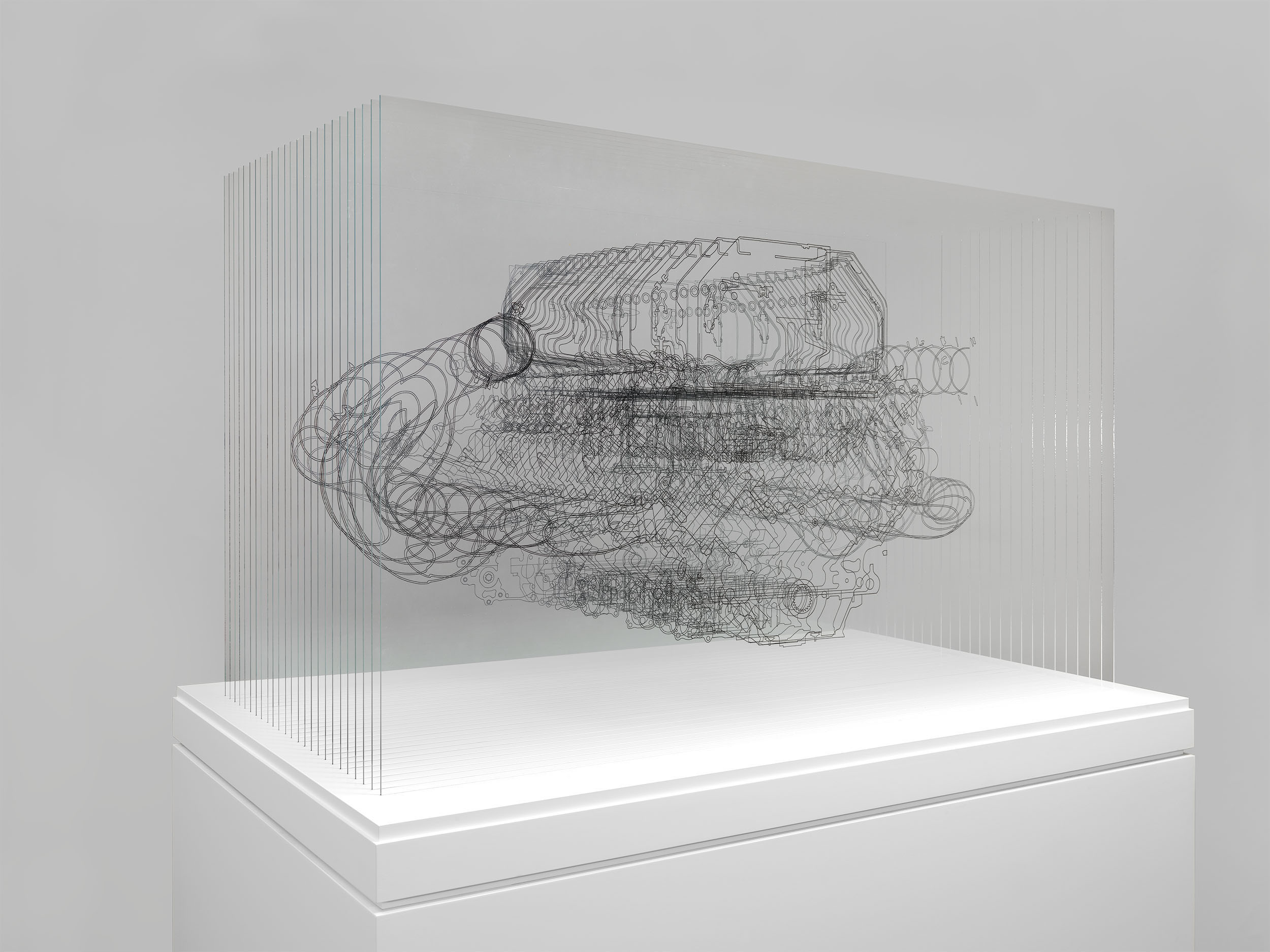 Angela Palmer - Adrenalin - V8 Engine, Ink drawing on 25 sheets of Mirogard glass, 75 x 119 x 72 cm (expo)