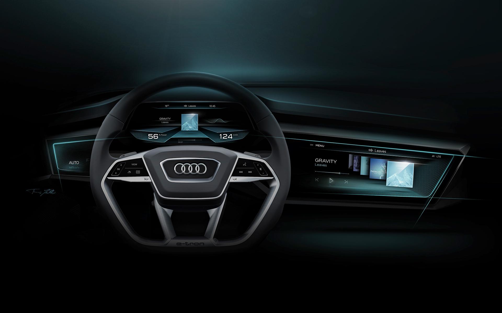 Audi e-tron quattro concept - 2016 - sketch - dashboard / tableau de bord