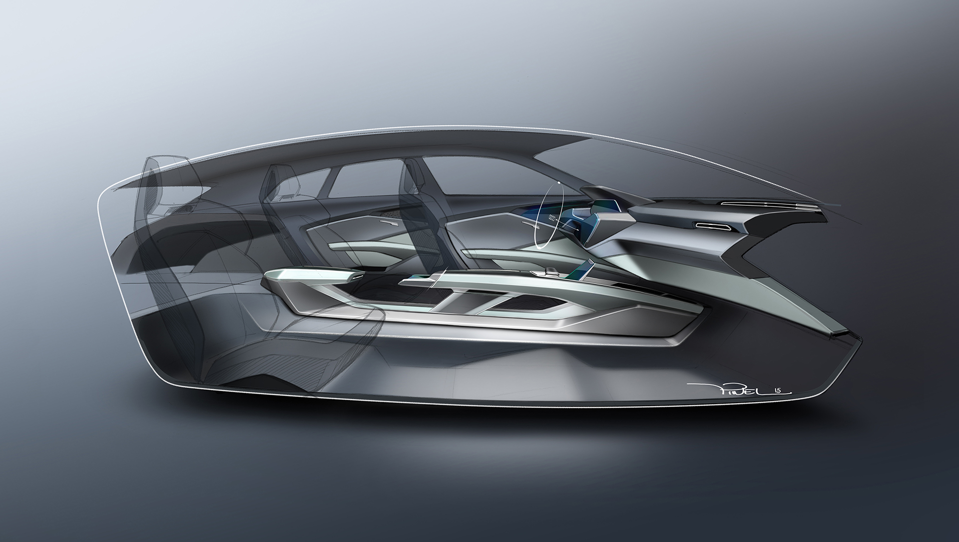 Audi e-tron quattro concept - 2016 - sketch design - interior / intérieur