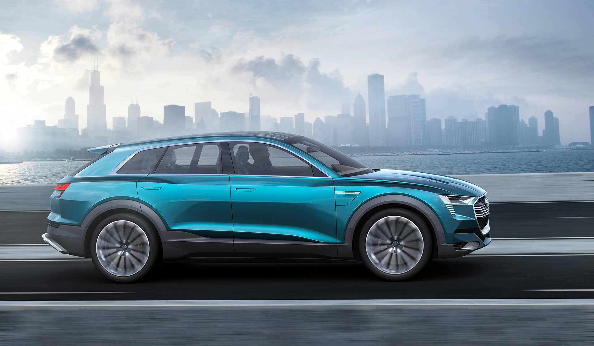 Audi e-tron quattro concept - 2016 - side-face / profil - on road / sur route