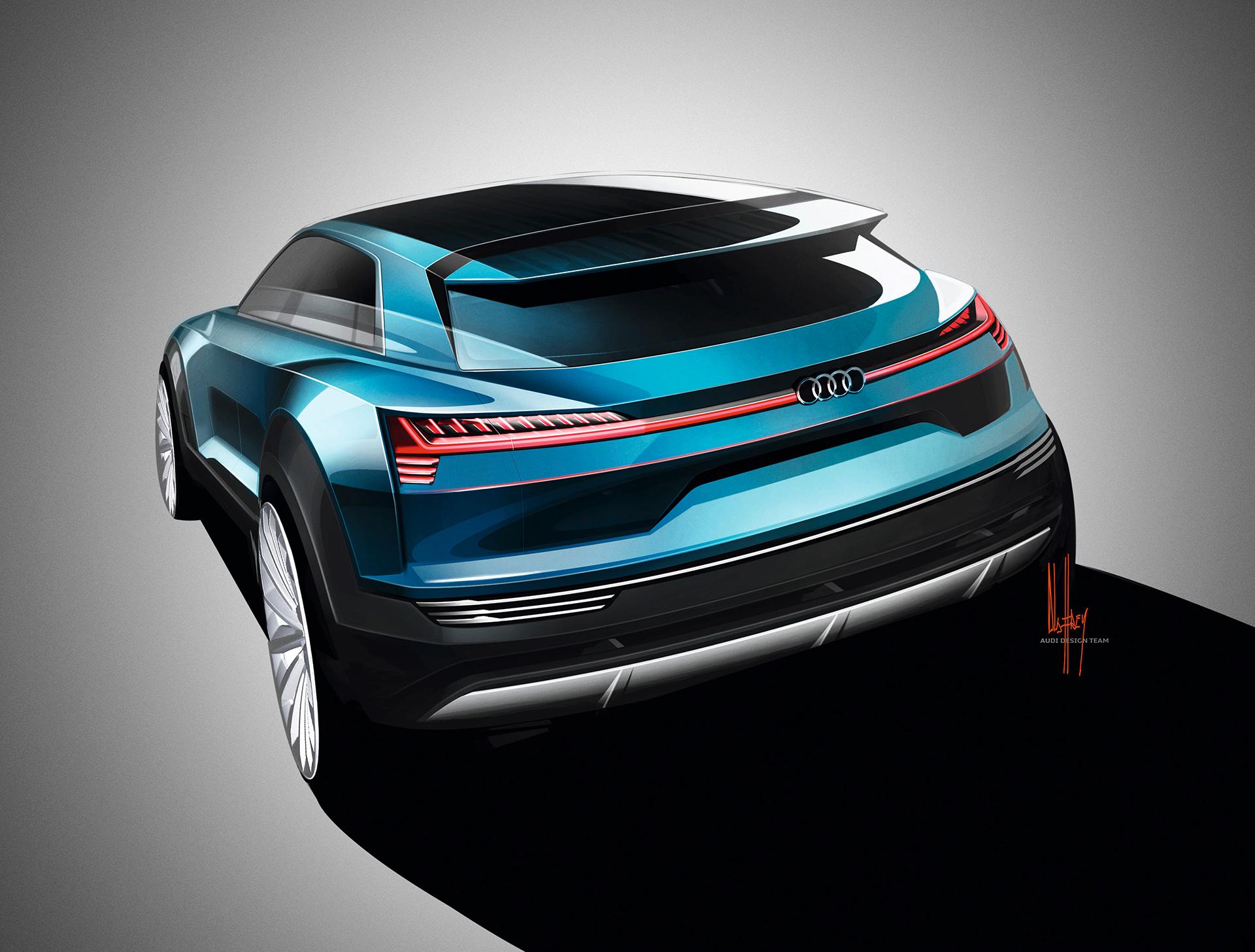 Audi e-tron quattro concept - 2016 - sketch - rear / arrière