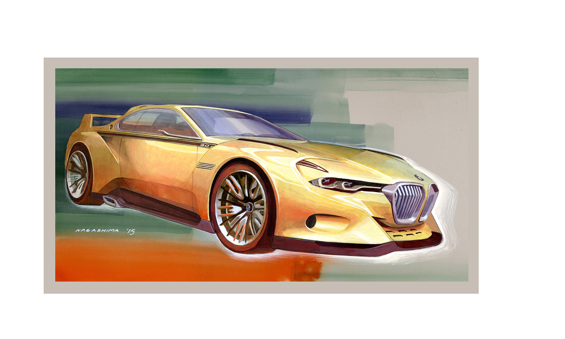 BMW 3.0 CSL Hommage - sketch artwork