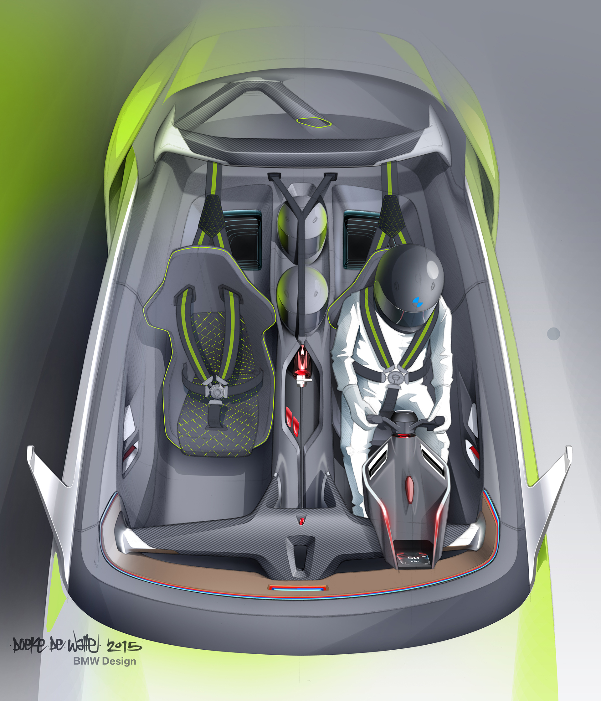 BMW 3.0 CSL Hommage - sketch inside interior