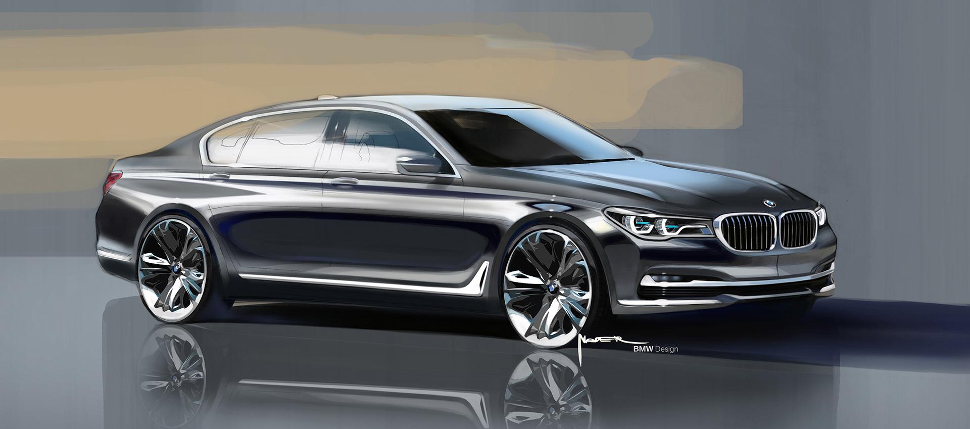 BMW 7 series - 2016 - sketch - profil avant / front