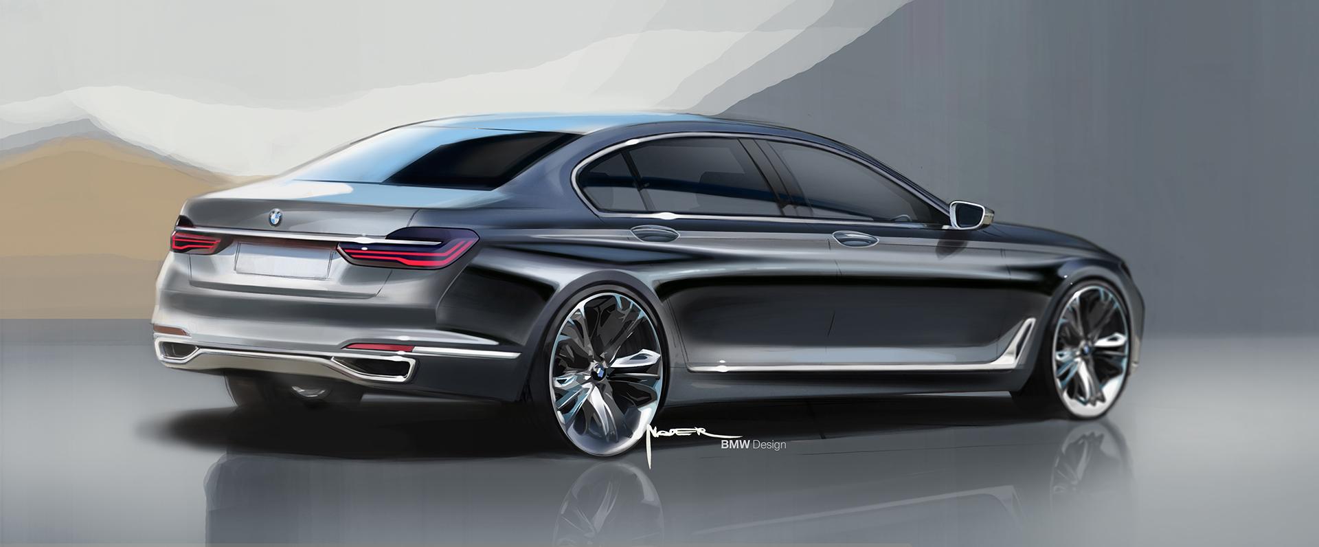 BMW 7 series - 2016 - sketch - profil arrière / rear