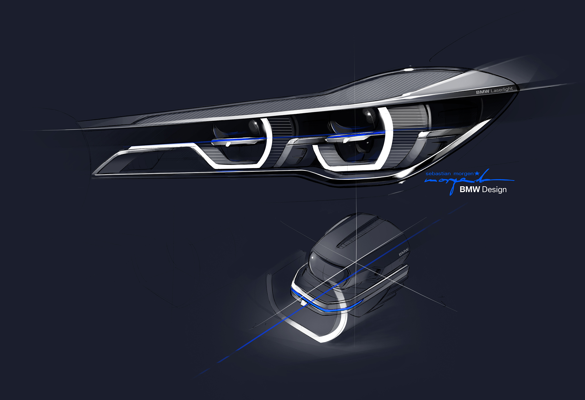 BMW 7 series - 2016 - sketch - laser light