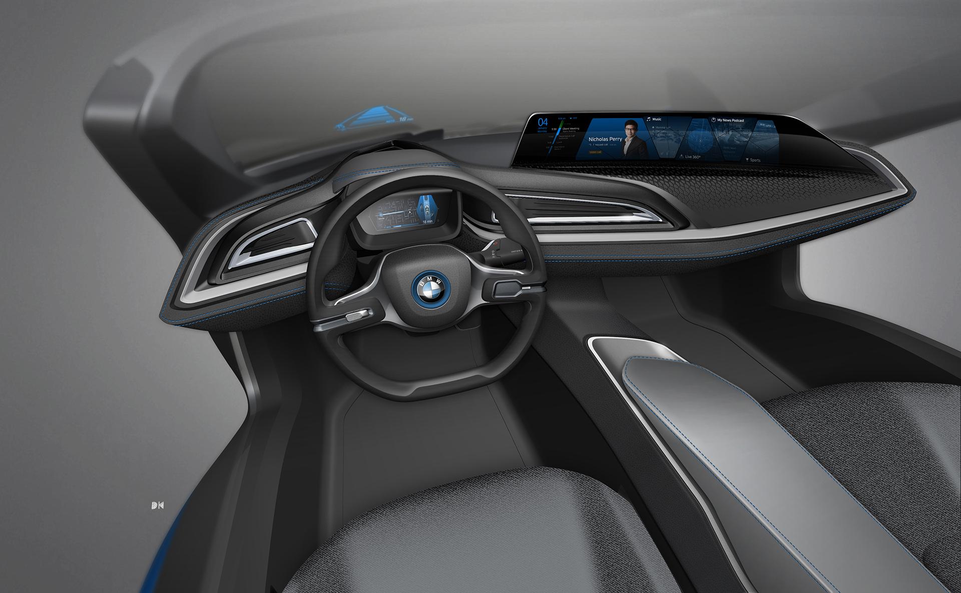 BMW i Vision Future Interaction – Concept Car - CES 2016 - sketch - interior / intérieur