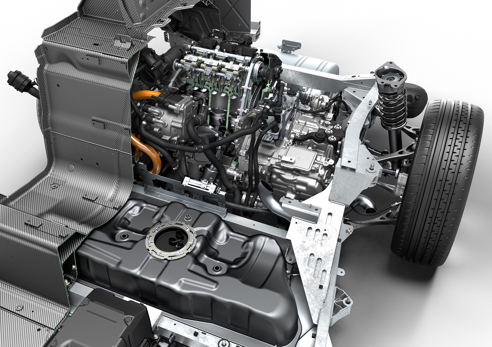 BMW i8 - inside powertrain engine
