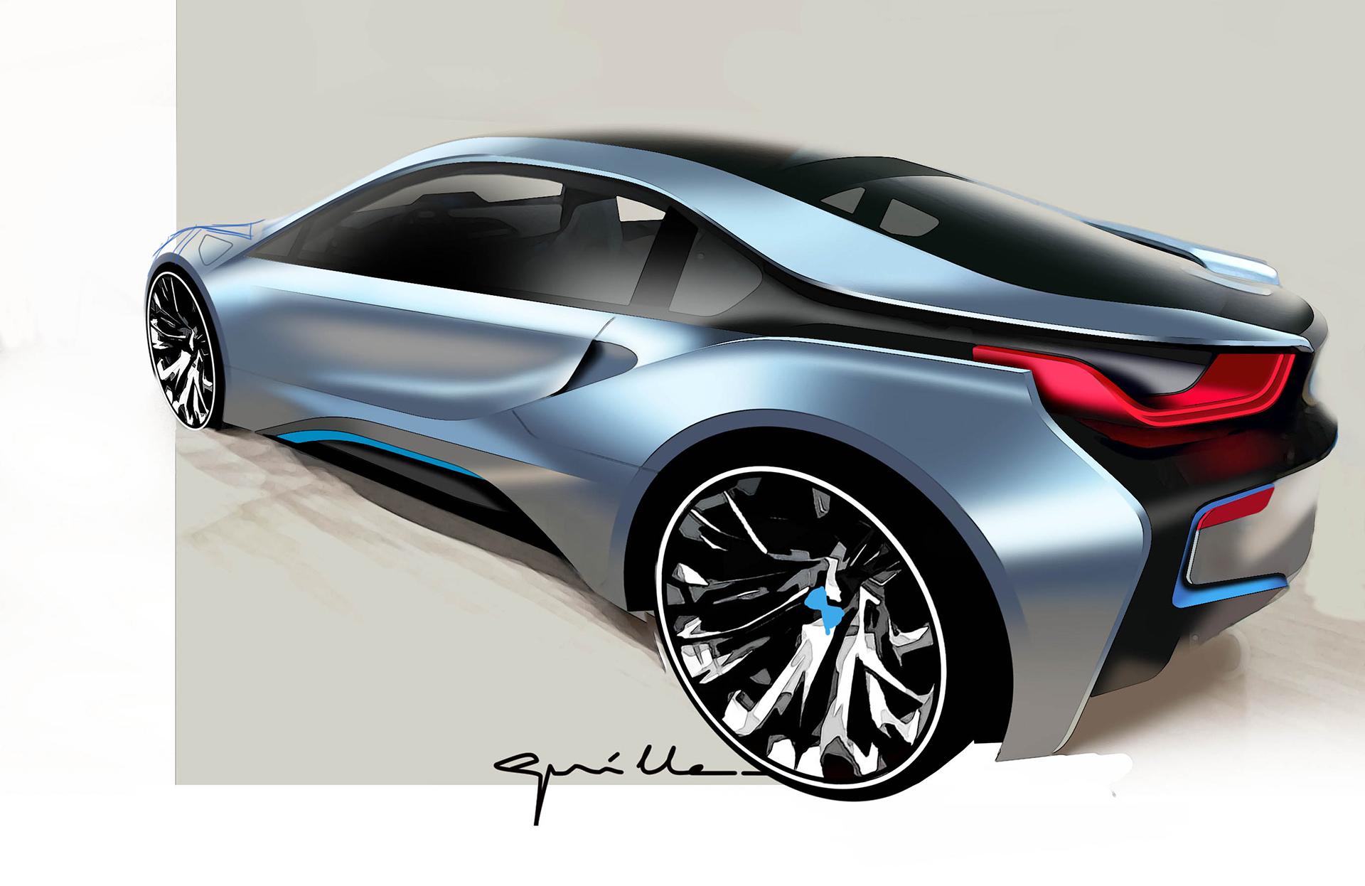 BMW i8 - sketch - rear / arrière