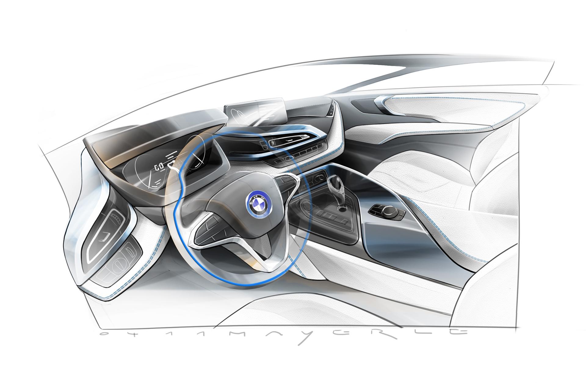BMW i8 - sketch - interior / intérieur
