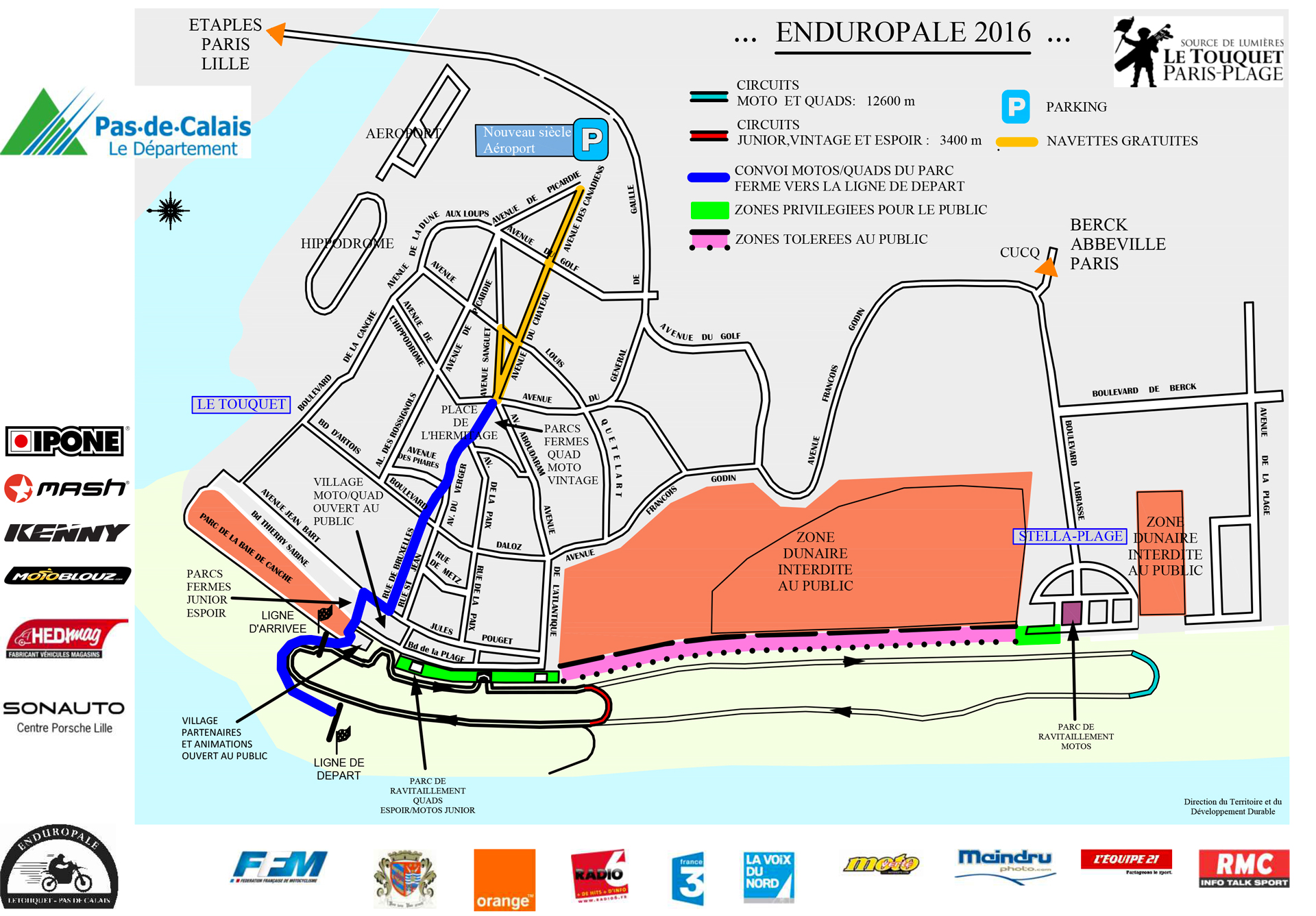 Enduropale du Touquet 2016 - carte / map