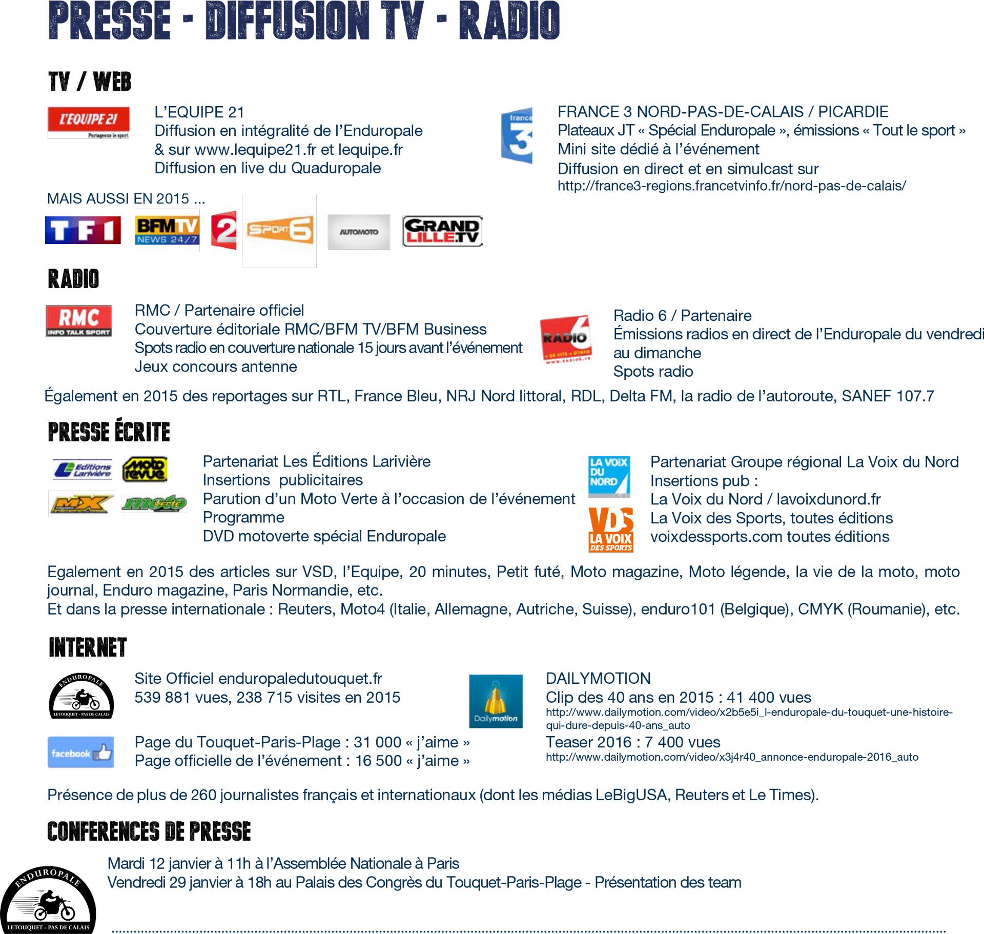 Enduropale du Touquet 2016 - Programme TV Radio Web en image