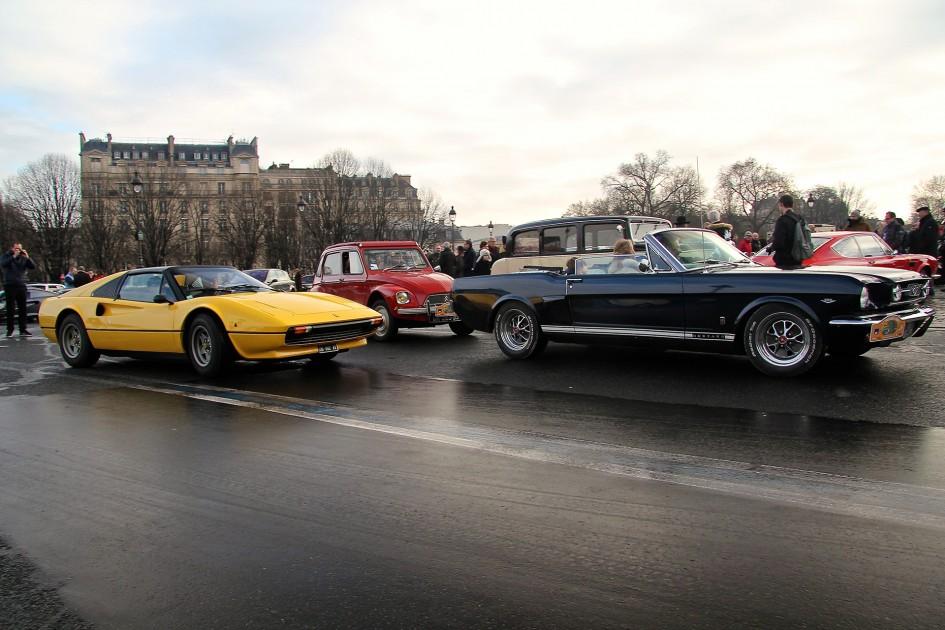 Ferrari 308 - Ford Mustang Traversée de Paris en anciennes hivernale 2017 - photo Ludo Ferrari