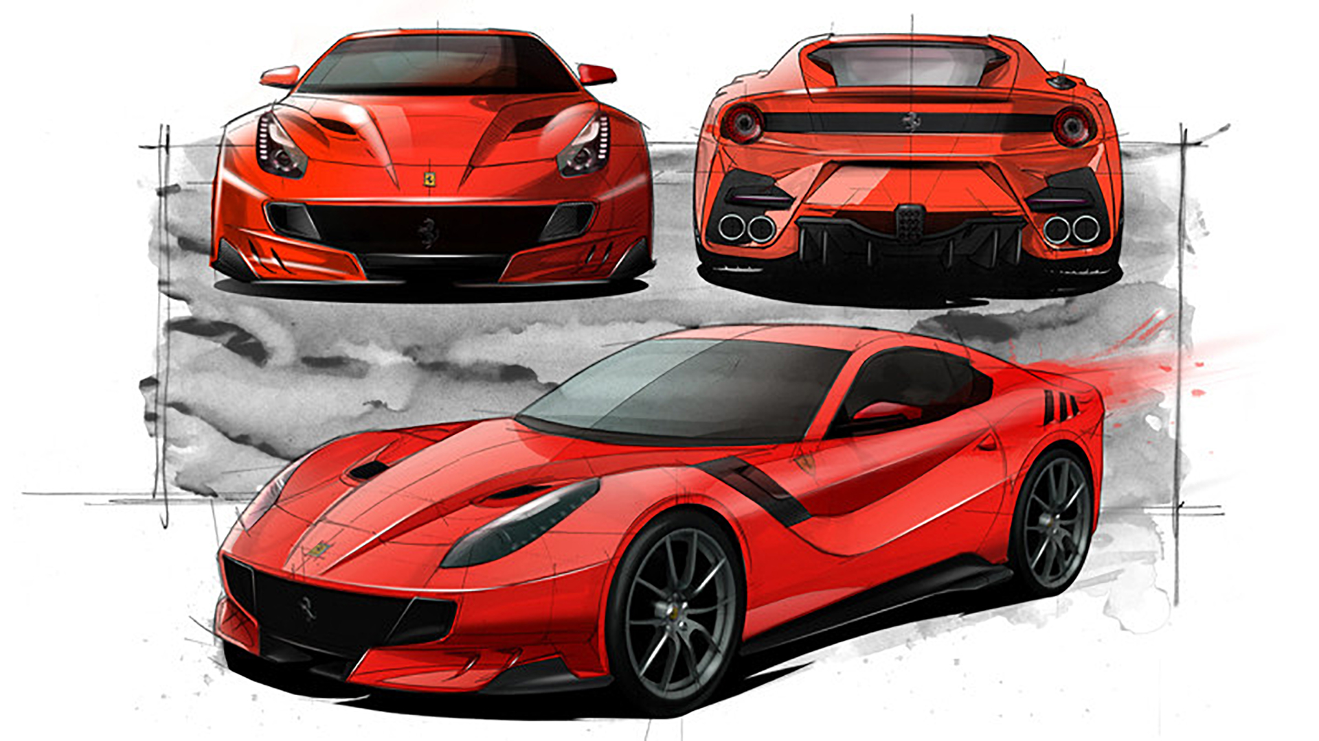 Ferrari F12tdf - design sketch