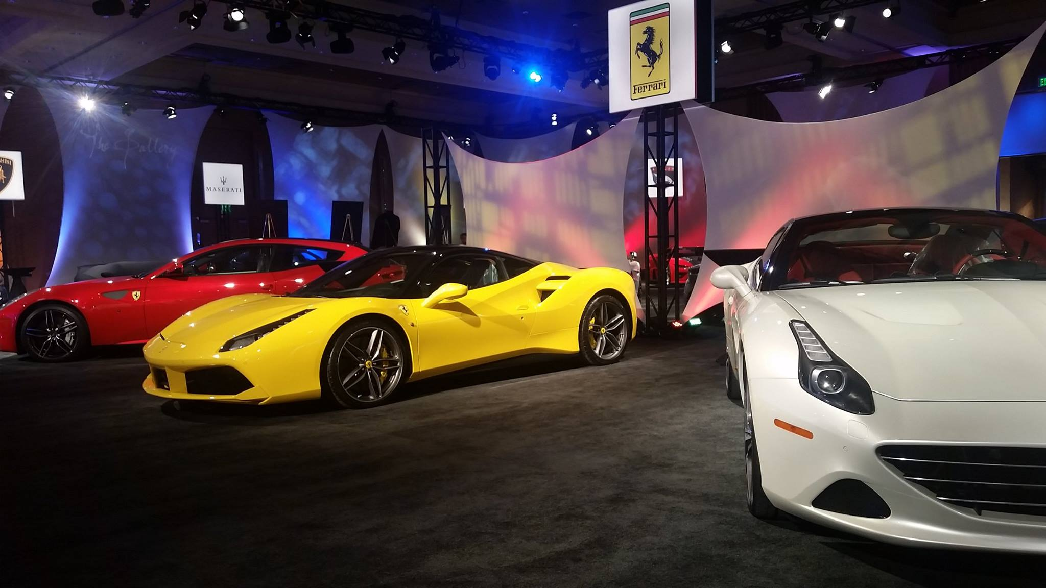 Ferrari - red FF - yellow 488 GTB - white Califonia T - The Gallery - event - NAIAS 2016