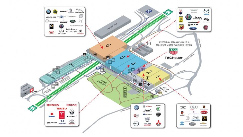 Geneva Motor Show 2016 - car-marker map - carte stand constructeur