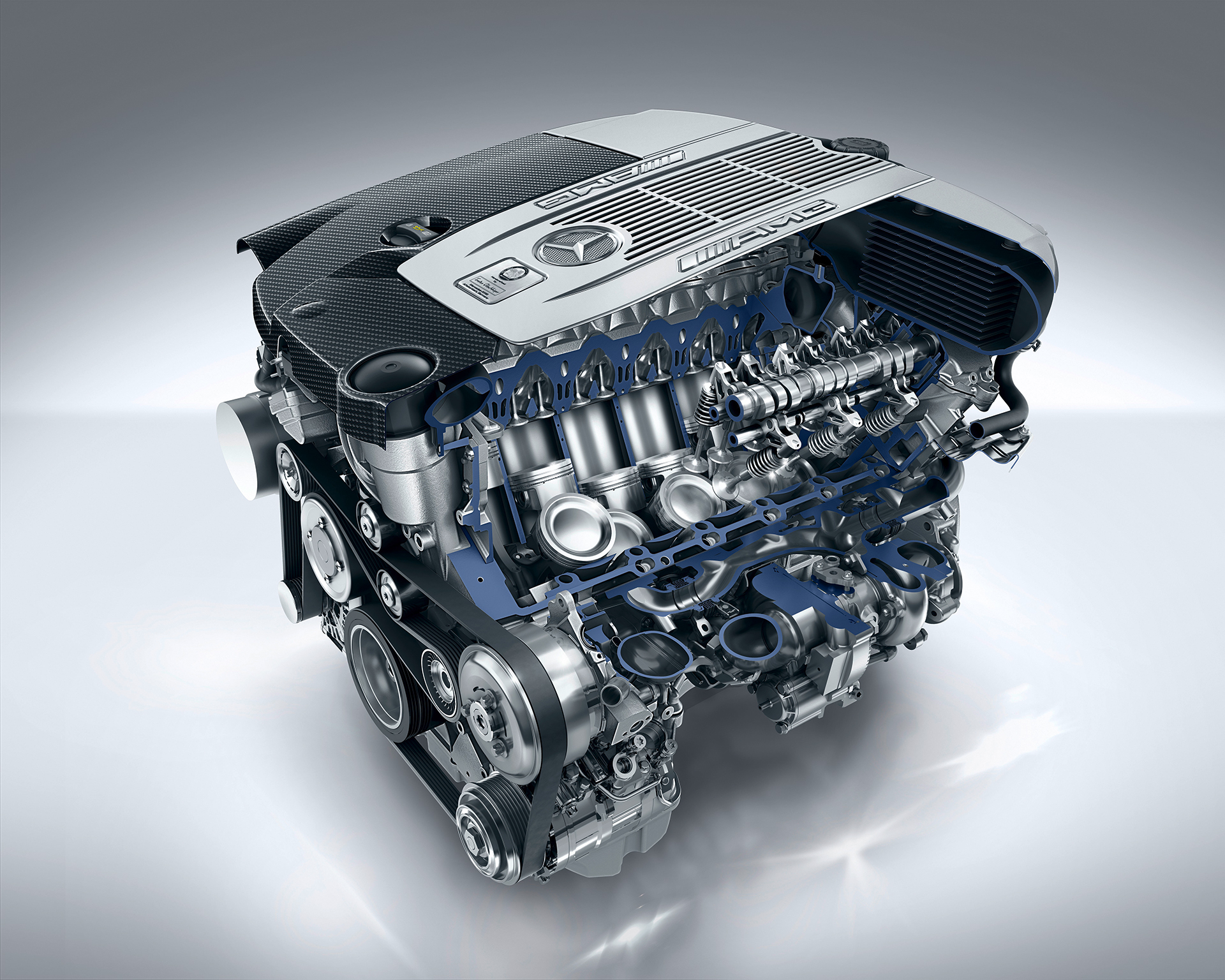 Mercedes-AMG 6.0-litre V12 biturbo engine - illustration / artwork inside