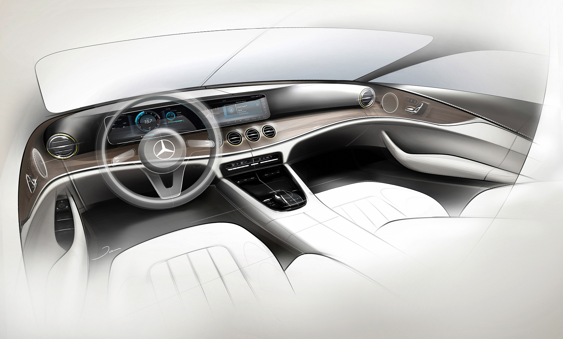 Mercedes-Benz E Class - 2016 - sketch design - interior / intérieur