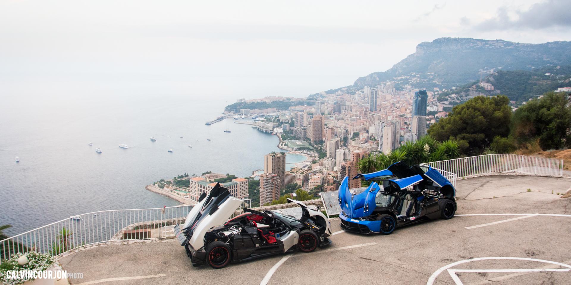 Pagani Zonda Cinque Roadster et Pagani Huayra - EPIC pose - panorama - Cote dAzur - 2015 - Calvin Courjon
