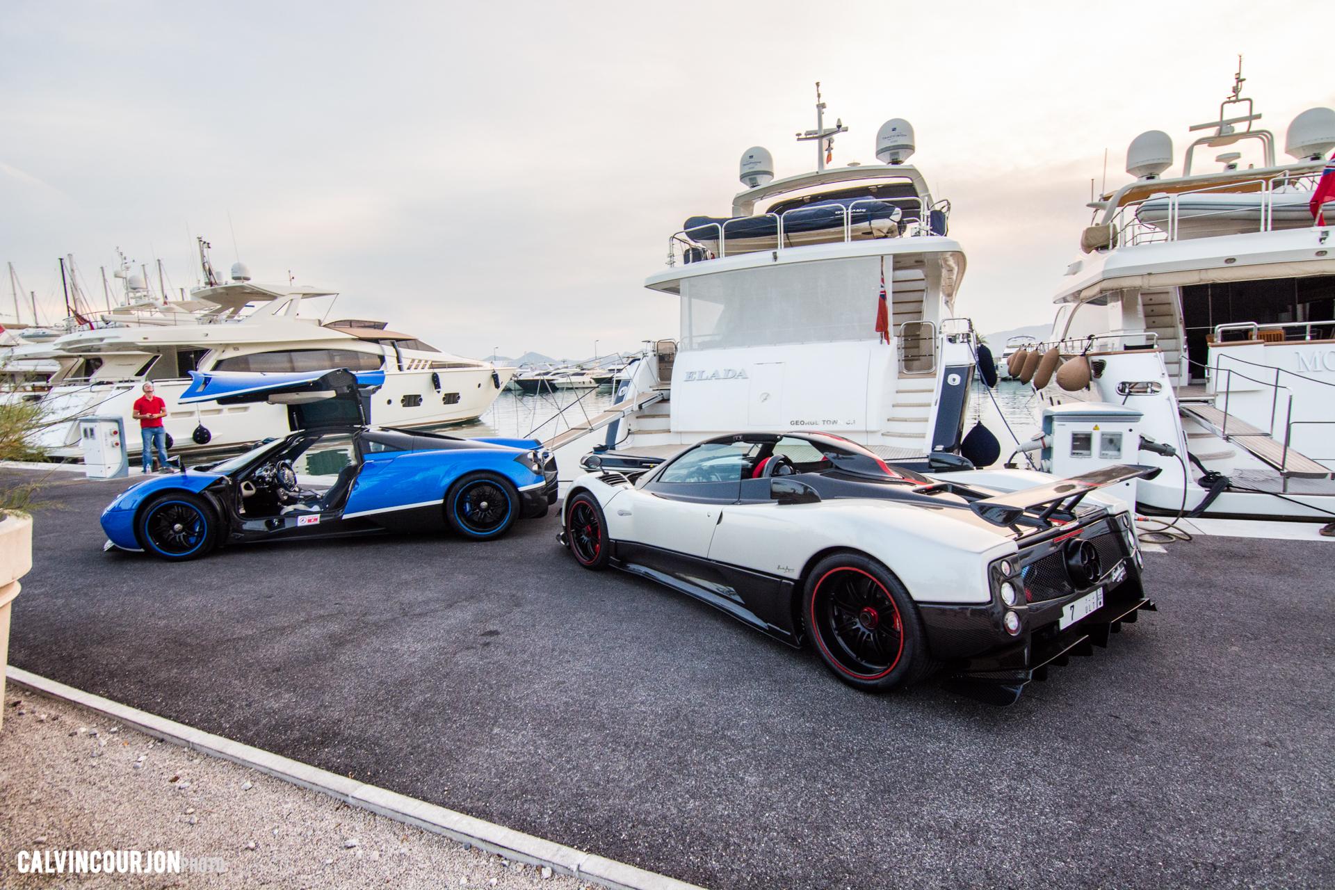 Pagani Zonda Cinque Roadster et Pagani Huayra - pose, pause au port - Cote dAzur - 2015 - Calvin Courjon