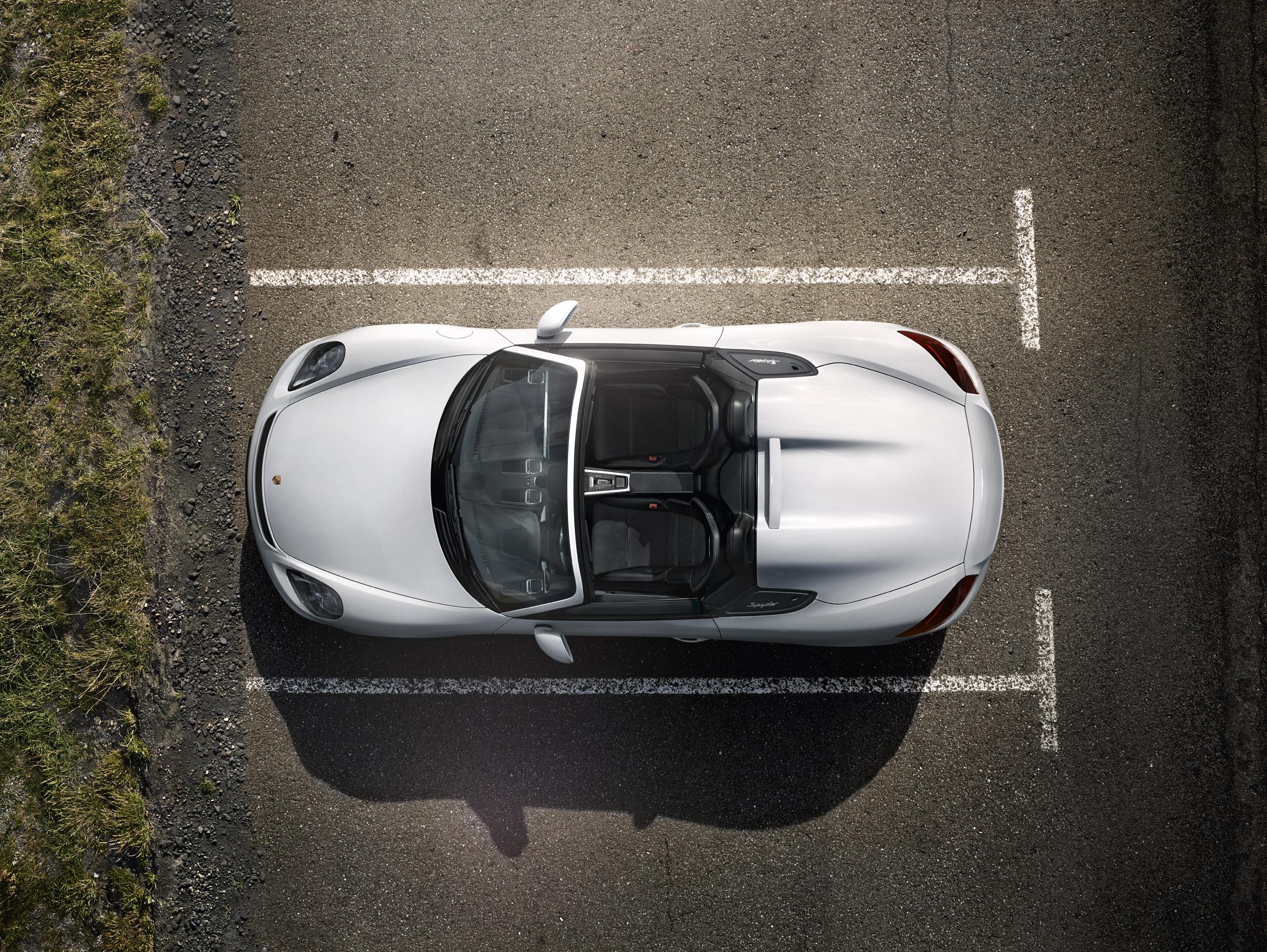 Porsche 2016 Boxster Spyder - vue du toit / top - open