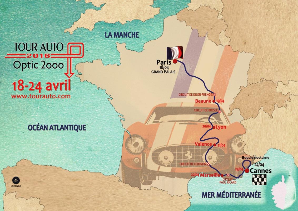 Tour Auto 2016 - Parcours