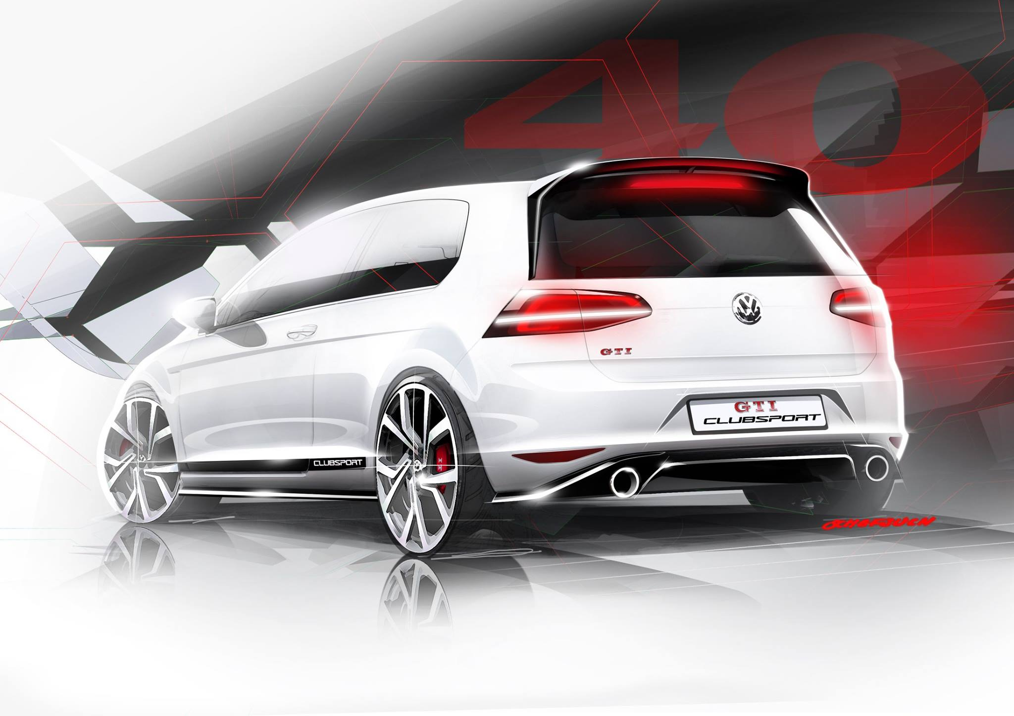 Golf GTI Clubsport - sketch - rear / arrière - Wörthersee 2015