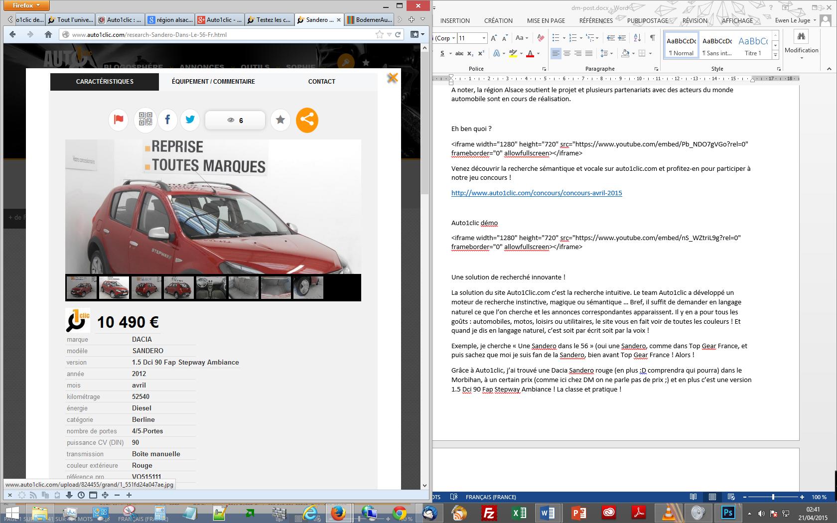 site Auto1clic sur écran taille type tablette