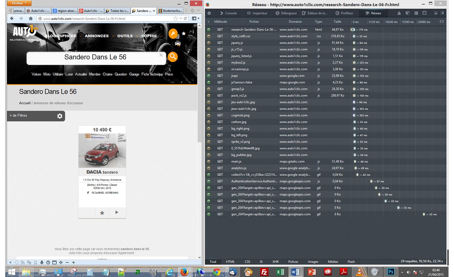 site Auto1clic - Web Performance