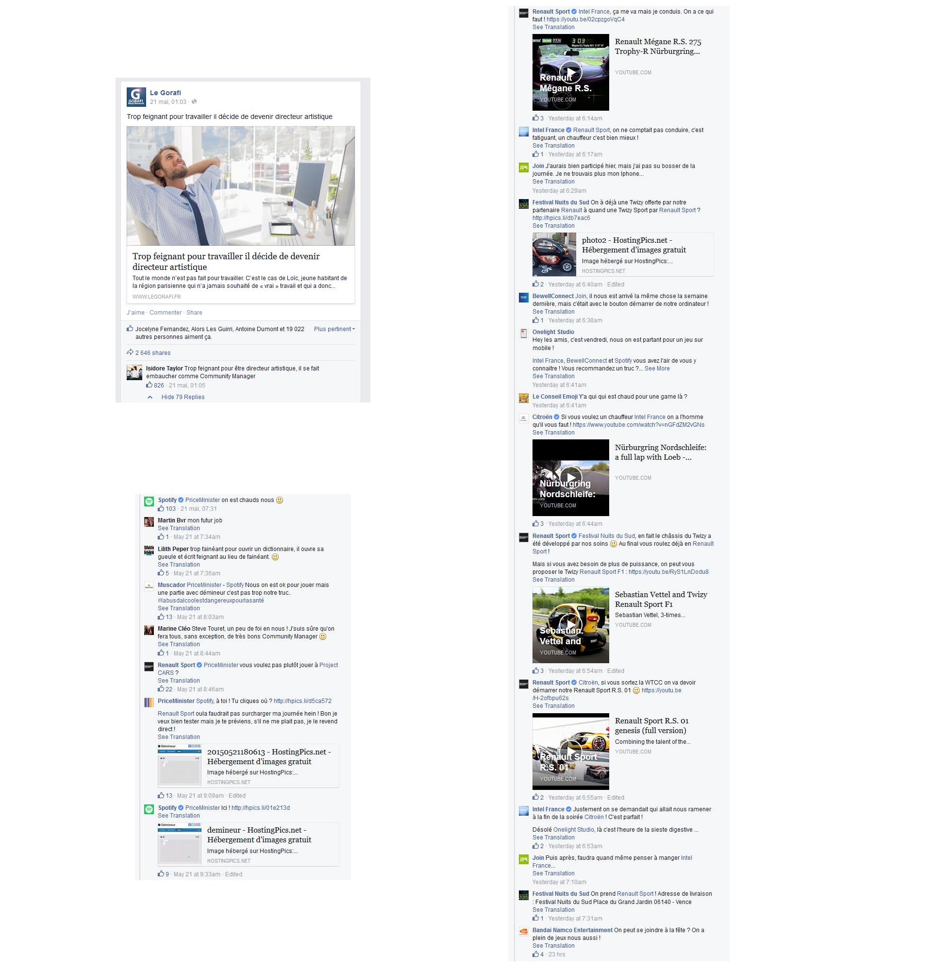 Quand les Community Manager de Renault Sport, Citroën Racing, Intel, Spotify… & cie répondent sur Facebook sur le Gorafi