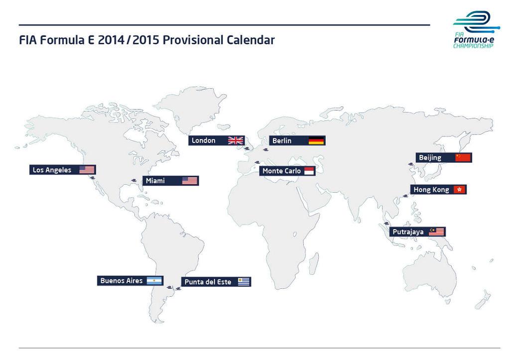 Carte mondiale des circuits de FIA formule E