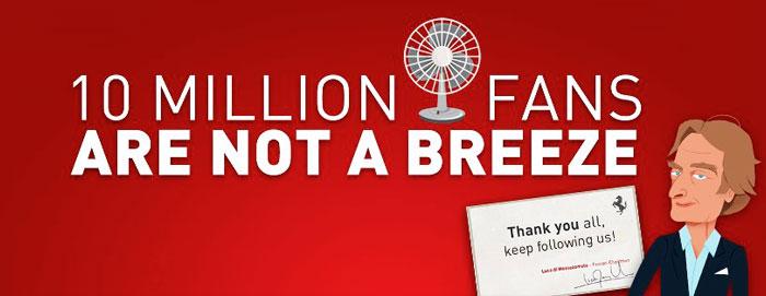 Ferrari 10 millions de fans Facebook