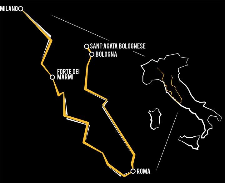carte Itinéraire du Lamborghini Grande Giro
