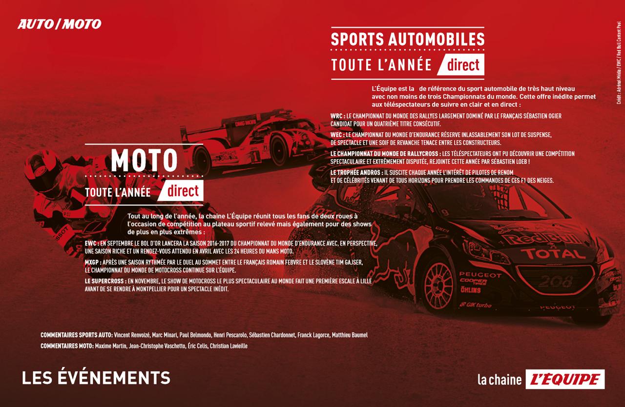 La chaine L'ÉQUIPE - 2016 - cover - Auto Moto - sport mécanique