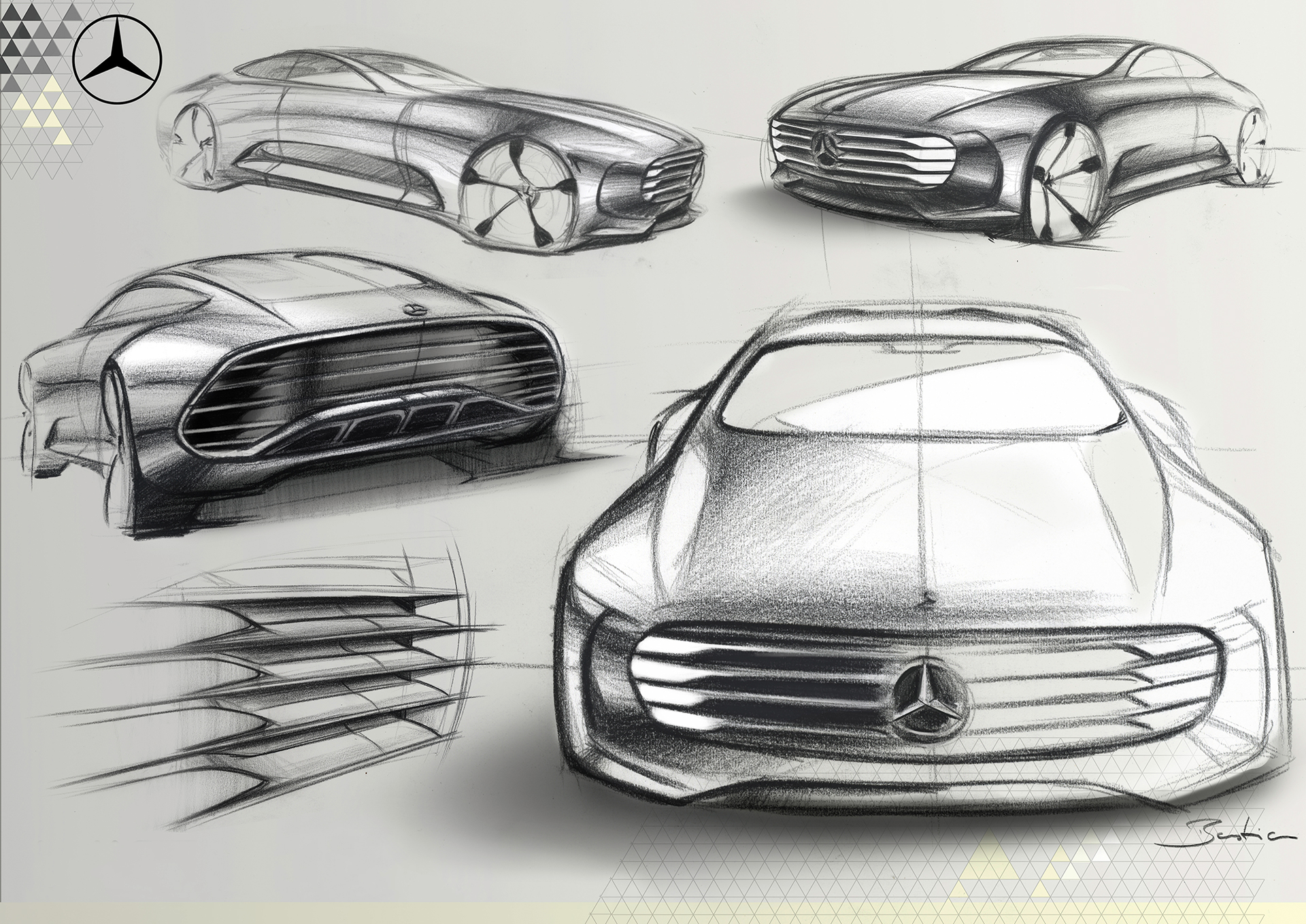 Mercedes-Benz Concept IAA - pencil sketch front design / dessin sketch design avant