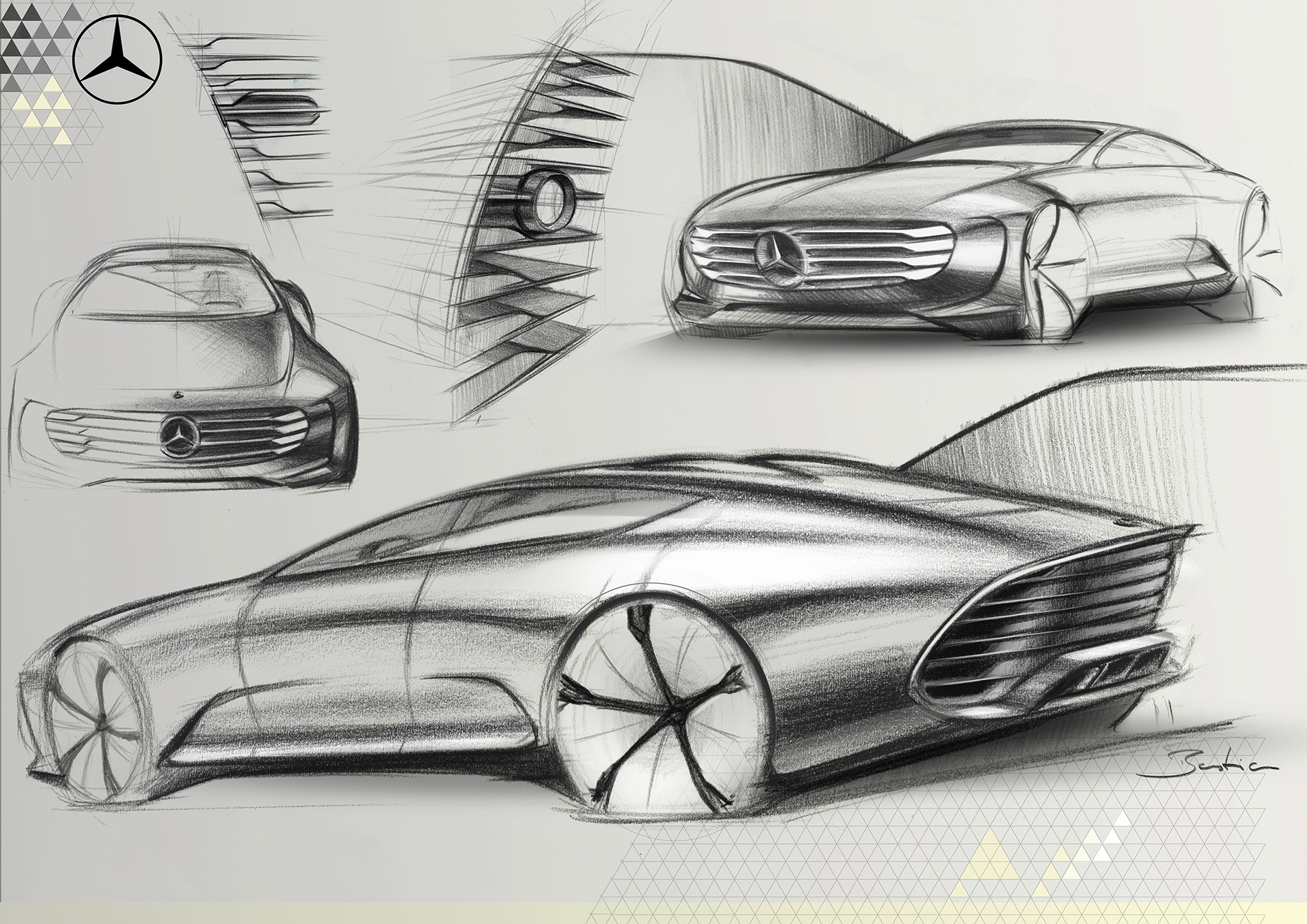 Mercedes-Benz Concept IAA - pencil sketch rear design / dessin sketch design arrière