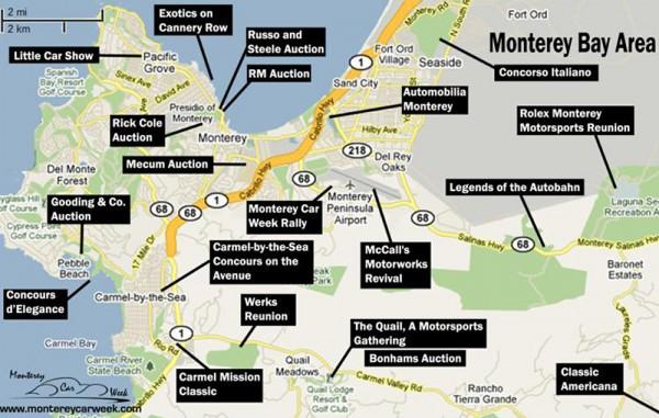 Monterey Car Week 2015 - map