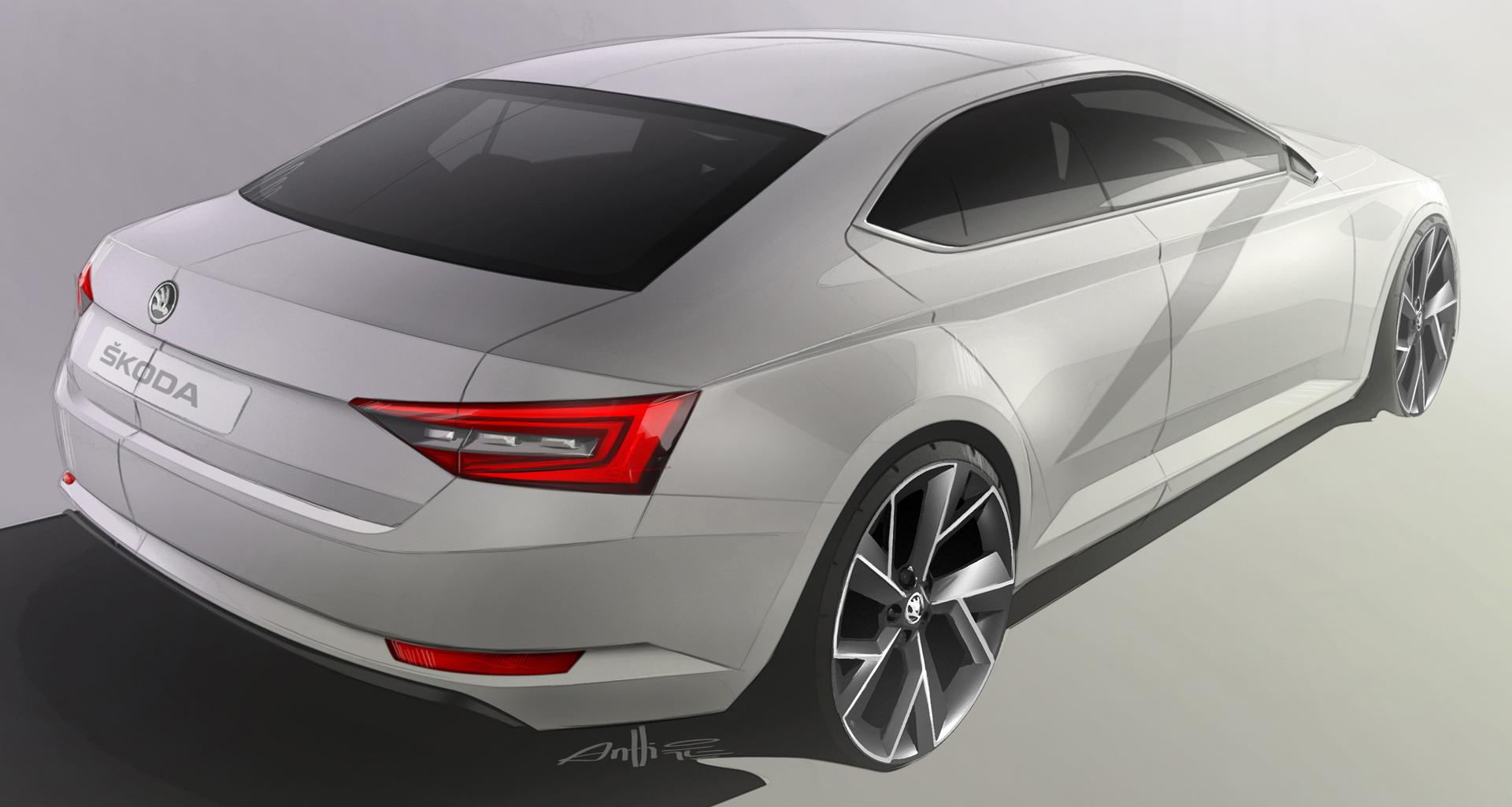 Škoda Superb 2015 - sketch design arrière