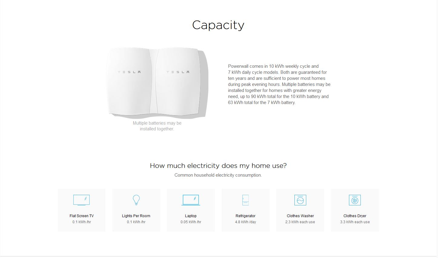Tesla Powerwall capacity: in 10 kWh weekly cycle and 7 kWh daily cycle models.
