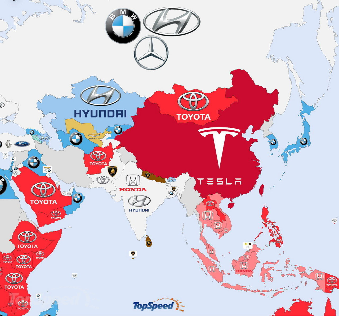 Asia - The World's Most Searched Car Brands: Infographic Pictures - TopSpeed